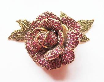 Magnificent Rare Joan Rivers Limited Edition  Pink Crystal Rose Brooch/Pin Bridal Pin Rhinestone Pin Retired Design