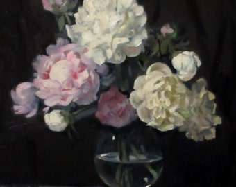 Peonies in Footed Glass vase, Oil on Canvas, 20x16, Unframed