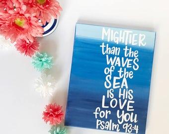 Psalm 93 Scripture Wall Art - Bible Verse Wall Art - Personalized Gift - Nursery Canvas Art - Baby Gift - Scripture Canvas-Painted Scripture