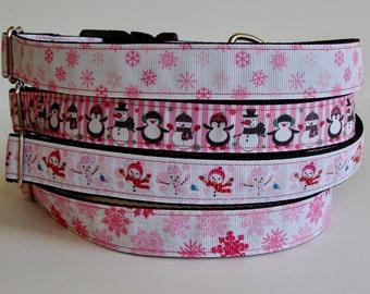 READY TO SHIP! Christmas Dog Collars Snowflake, Penguin, Snow Girl - Pink