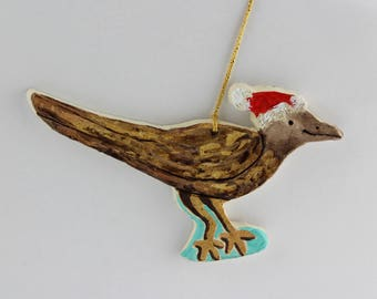 Roadrunner Christmas Ornament in Santa Hat, Southwest Ceramic Ornament by Karlene Voepel