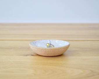 FARMHOUSE Collection: Jewelry ring keeper/holder dish. Handmade, wheel thrown stoneware pottery. Modern, minimalistic decor