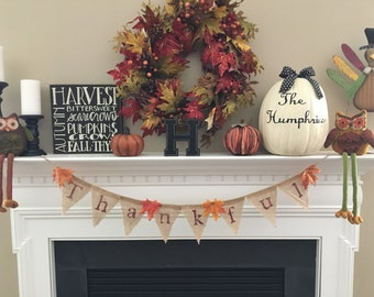 Thankful Banner, Burlap Banner, Burlap Thankful Banner, Fall, Thanksgiving Decor, Burlap, Banner