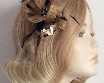 BLACK, and METALLIC GOLD Fascinator, Made of sinamay, sequins, Rhinestone, feathers, on a clip
