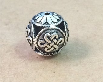 Sterling Silver Large Celtic Beads 17mm,  Sterling Celtic Beads, 925 Silver Celtic Beads, Hollow Beads Diameter 17mm - ZT964
