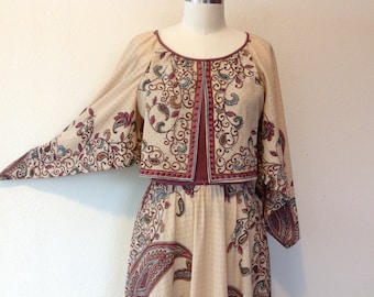 1970s Paisley peasant dress