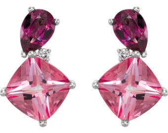 14k White Gold Genuine Pink Passion Topaz & Rhodolite Garnet Gemstone .03 CTW Diamond Stud Earrings