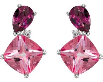 14k White Gold Genuine Pink Passion Topaz & Rhodolite Garnet Gemstone .03 CTW Diamond Stud Earrings