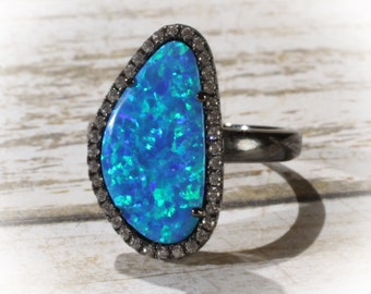 Ruthenium Plated Freeform Shaped Synthetic Blue Opal and CZ Ring USA Size 6