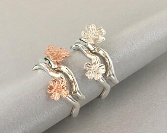 Sakura Ring / Flower sterling silver ring / Cherry blossom ring