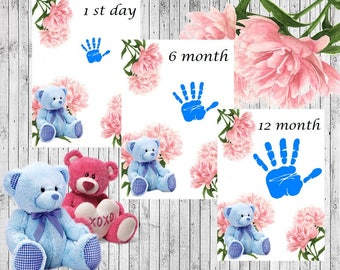 Baby boy handprint paper, instant download PDF file
