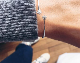 Fine bracelet, Bangle 925/000 sterling silver Daisy flower and CZ - sterling silver bangle