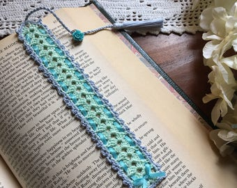 Crochet bookmark, light green and light blue, flower charm on the tassel, unique book lover gift