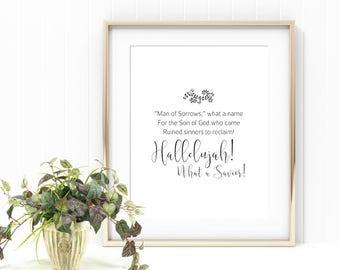 What A Savior, Man of Sorrows, Easter Decor, Hymn Lyrics,Easter Hymn, Digital Art Print, Printable Art, Spring Decor, Digital Download