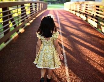 Charlotte Dress: Vintage Yellow Floral Modest Scoop Back Dress