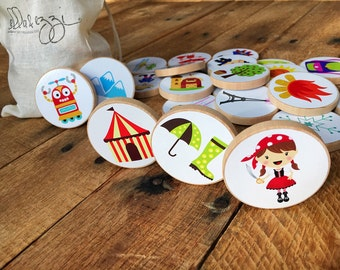Story Starter Set, Story Stones, Wooden Disc Game, Montessori, Educational Toy, Quiet Time