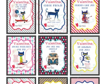 Printable Valentines, Pete the cat, Printable Valentines, Pete the cat Cards, Pete the cat Instant Download, Pete the cat, Kids Valentines