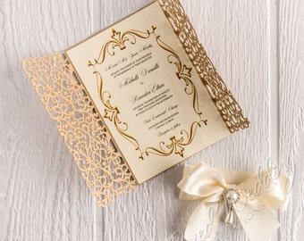Quinceanera invitationsweet 15 invitation cardgold gold laser cut invitation cardquinceanera invitation wedding invitationanniversary invitationbirthday stopboris Choice Image