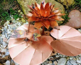 Waterlily and dragonfly copper sculpture garden art