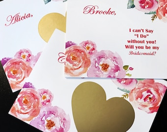 Will You Be My Bridesmaid Card, Maid of Honor Card, Bridesmaid Proposal, Floral, Gold, Wedding, Heart, Scratch Off