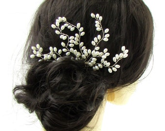 Ivory White Silver Pearl Bead Vine Hair Comb Bridal Wedding Headpiece Wire 720
