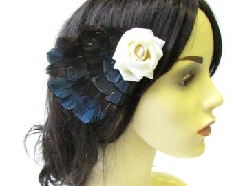 Navy Blue Ivory Pheasant Feather Rose Hair Clip Bridal Fascinator Vintage 1617