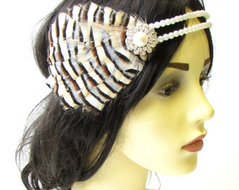 Cream Brown Black Ivory Pearl Feather Headpiece 1930s Headband Flapper 1920 1624
