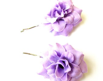 2 x Light Purple Rose Flower Hair Grips Clips Bridesmaid Bobby Pins Slides 2101