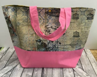 Bird Ephemera Canvas Tote Bag,Bird Tote Canvas,Tote Bag Canvas,Tote Bag with pocket,Project Bag Knitting,Project Bag Crochet,Toad Hollow Bag