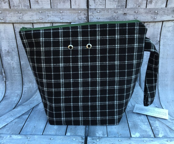 Knitting Project Bag,Black Flannel wedge knitting bag,Flannel Project Bag,Sock Project Bag,crochet project bag,knitting bag,Toad Hollow Bags