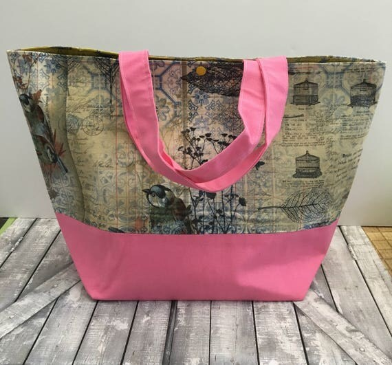 Bird Ephemera Canvas Tote Bag,Bird Tote Canvas,Tote Bag Canvas,Tote Bag with pocket,Project Bag Knitting,Project Bag Crochet,Toad Hollow Bag