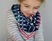 Girl's Spring Lightweight Infinity Scarf- Navy Mint Pink Lime- Everyday Pitter Patter- Toddler Scarf