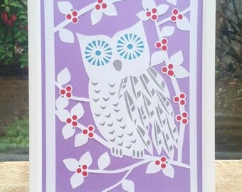 owl papercut, framed papercut, purple owl papercut, owl room decor, owl art, papercut artwork, owl gift, wall art, paper cut