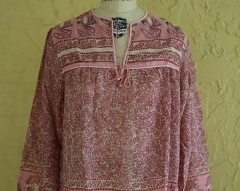 Vtg Deadstock 1970s Indian Sheer Gauze Cotton Top Blouse Boho Hippie Festival Block Print Paisley Floral Large