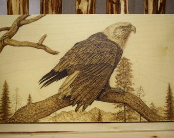 Wooden pyrography  picture, Poker-work picture on wood