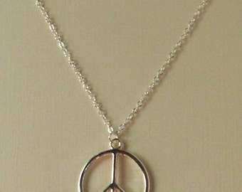 Silver Peace Sign Necklace , CND Necklace , Retro Necklace , Hippie Jewelry , 60s , Vintage Inspired , Handmade Jewelry , Gift