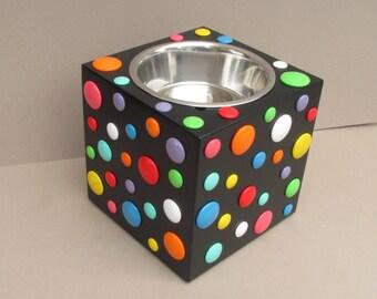 POLKA DOT XL - elevated dog bowl stand - raised dog dish - colorful dog bowl holder - elevated dog feeder - raised dog food bowl stand