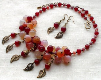 Colorful set Jewelry. necklace earrings berries. agate, agate FROST, carnelian. natural stones Sets. Charming, Bright Sets. Gift for her.