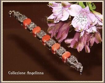 Bracelet of Goldstone, starlets, gold brown, silver, Tibet silver