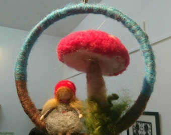 Toadstool gilr mobile, Needle felted toadstool and girl, Waldorf inspired mobile, Toadstool girl