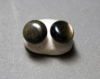 10mm Golden Obsidian Round Gemstone Post Earrings with Sterling Silver