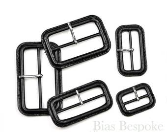 Black Leather Buckles with Silver Pins, Made in Italy