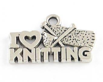 15 I Love Knitting Words Tibetan Silver Charms (455)