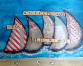 Set Sail Series #27 16x20 Sailboat Painting on Canvas 248-0116