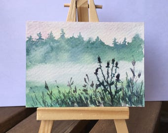Fog Season - ATC / ACEO Original Watercolor Painting - Miniature Mini Painting - Landscape - OOAK Collectible Fine Art Card Gift Set