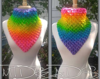 The Sister Set of Neon Rainbow Dragonscale neckerchiefs