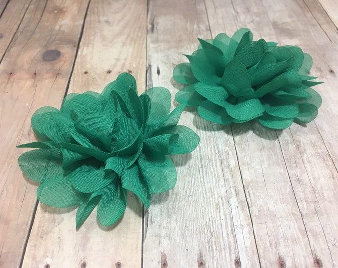 "2"" Green Mini Chiffon Flower | Flower for Dog Collar | Small Dog | CupcakePups"