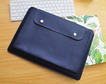 Personalized computer case leather notebook case leather laptop sleeves custom size for 11inch -15inch laptop covers Blue leather bags-088