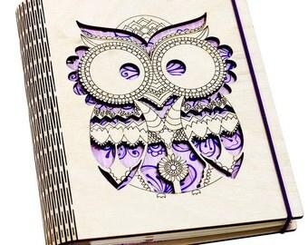 Wood Wrapper Notebook book journal, Owl Pattern Plywood Notebook, Owl for Gift, Wood Notebook Cover, Owl, Journal, A5 notebook cover