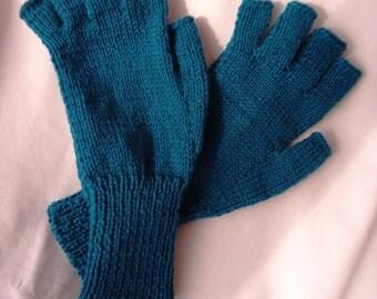 Mens/Gents half finger/fingerless Petrol Blue colouerd gloves